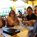 Our first meal in Taormina: Adam Marek, Annie Kirby, Stuart Evers and KJ Orr.