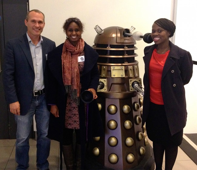 David Vann, Nadifa Mohamed and her friend Mary are very proud of their shiny new Dalek.