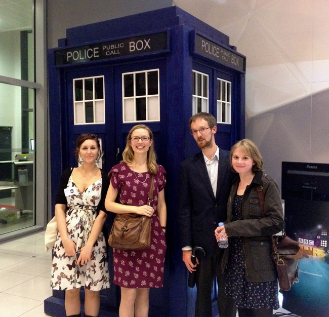 Story folk look for the Tardis key: Katie Slade from Comma Press, KJ Orr, BBC NSSA runner-up Lucy Wood and partner.