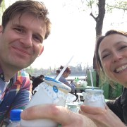 Adam Marek and Zoe Gilbert drink yogurt