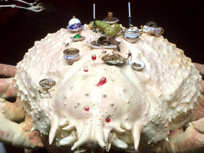 Tessa Farmer In Fairy Land exhibition photo - fairies feast on top of a spider crab.